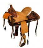 Double T 12 Hard Seat Roper Style Saddle with Floral Tooling