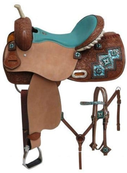 "Double T 14"", 15"", 16"" Arctic Aztec Print Barrel Style Saddle Set"